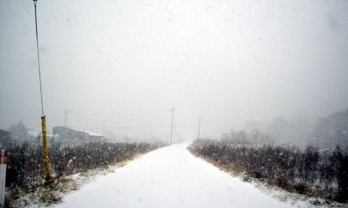 雪の栗山スタート。冬用タイヤ&安全運転でおこしください
