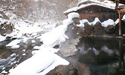 川俣温泉一柳閣 冬なら鬼怒川沿いの雪見露天風呂