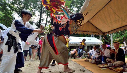 【湯西川温泉 湯殿山神社祭礼】 神仏習合の大祭典→2地区の獅子舞が交互に舞う