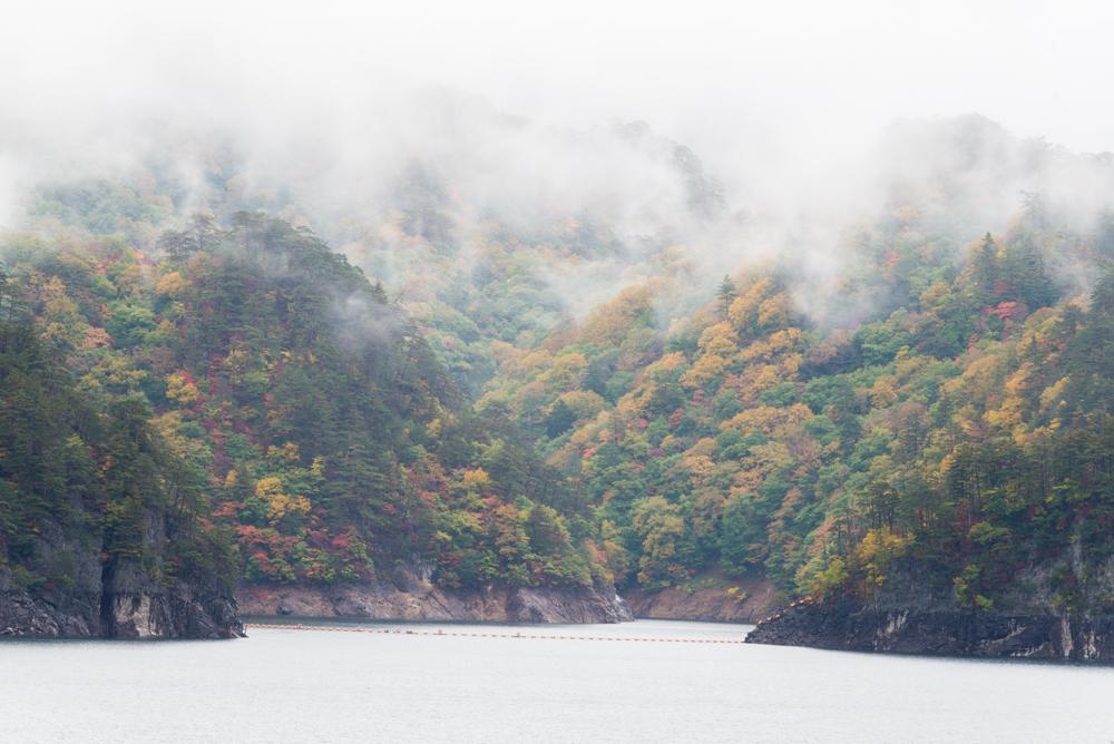 雨あがり川俣湖(紅葉)
