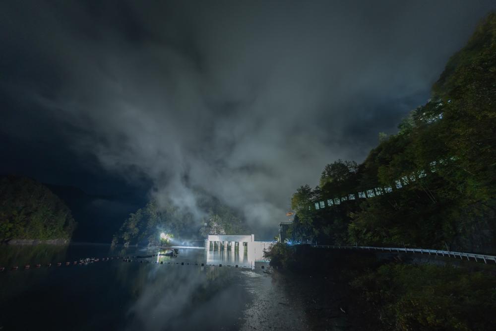 川俣ダム 上流側からライトアップ